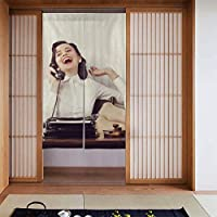のれん カーテン 朗らか女トーキングの電話で、オフィスデスク 柔らかい おしゃれ 玄関 キッチン リビング 台所 飲食店 出入り口 開店祝い 新築祝い 仕切り 遮光 暖簾 カーテン 幅86丈143cm