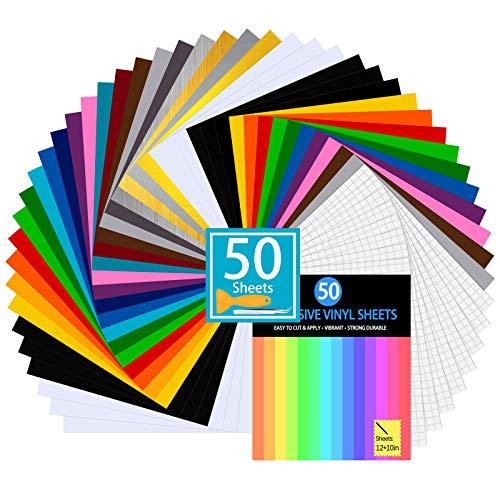 Láminas de vinilo para plotter, 50 juegos láminas con adhesivo permanente, 60 30 x cm, 10 cinta transferencia, colores diferentes Cricut