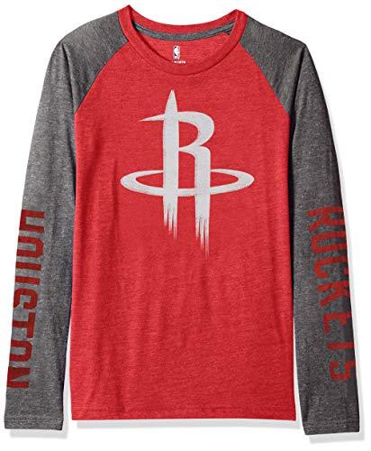 OuterStuff NBA by NBA Youth Jungen Raglan-T-Shirt Fadeaway, Jungen, Fadeaway Long Sleeve Raglan Tee, rot, Jugend Small