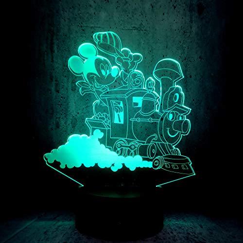 Luz Nocturna Usb 3D Mickey Mouse Tren De Conducción Luz Nocturna Regalo De Navidad Decoración De Escritorio Niños Iluminación Creativa