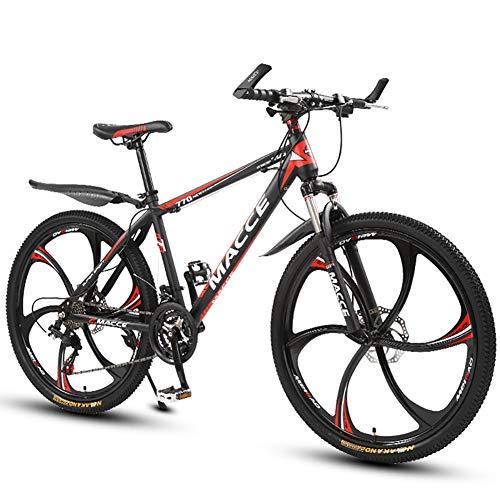 ZLMI Mountain Bike Uomo 27 velocità Doppio Freno Disco 26 Pollici Bici Città per Qualsiasi Terreno Solo Adulti Ciclismo All'aperto Coda Dura Sospensioni Anteriori,Rosso