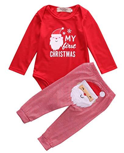 Mi Primera Navidad 2 Piezas Traje para Bebé Recién Nacido Conjunto de Mameluco de Manga Larga y Pantalones Ropa Pelele Pijama Unisex para Niño Niña 0-18 Meses