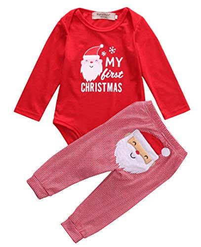 Geagodelia My First Christmas Newborn Toddler Baby Girl Boy Outfit Clothes Long Sleeve Romper Santa Claus Pants Pajamas Set (Red, 6-12m)