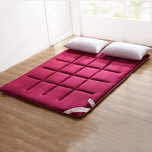 King Size futón colchón Grueso Tatami Sleeping Sleeping Masculino y Hembra Dormitorio colchón lecho de Invitados de Estilo japonés,Rojo,70.8×78.7 in