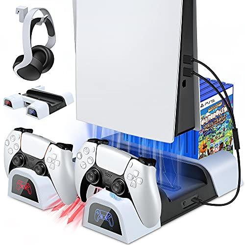 Buluri Soporte PS5 con Ventilador de Refrigeración y Cargador Mando PS5, Multifuncional Soporte Vertical con Indicadores LED y Ranuras de 10 Juegos, para Playstation 5 Console