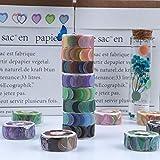 RisyPisy 8 Rollos de Cintas Washi Set, Color Puro Colección Cintas Adhesivas, 800 Piezas Pegatinas de Puntos de 14mm de Ancho para Marca de Archivo, Carpetas, Botellas, Móviles, Ordenadores