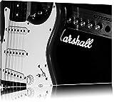 Pixxprint Dark E-Gitarre mit Verstärkerauf Leinwand, XXL