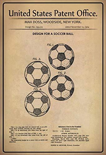 FS Patent ontwerp voor Soccer- Ball- Doss metalen bord bord gebogen metalen teken 20 x 30 cm