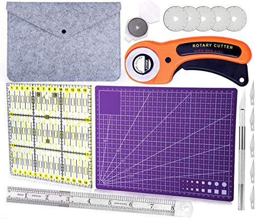 Rotary Cutters, Rotary Cutter Set with Cutting Mat, Patchwork Ruler, Carving Knife, Rotary Cutter Kit for Sewing and Quilting