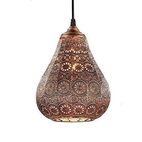 Lampe suspension Style Orientale en métal-Ø 19cm, en cuivre antique avec 4W Ampoule flamme LED