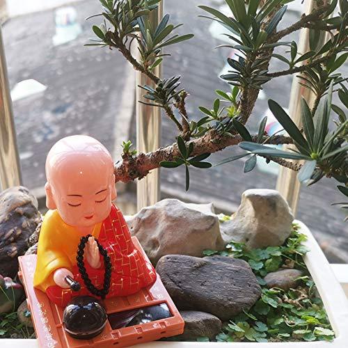 BARMI Solar Powered Baby Buddha Figurines Monk Figurines Decor Car Bobbleheads Figures Buddah Dashboard Decorations S 1