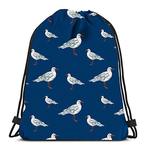 Drawstring Bags Backpack Gull Flight Bird Seabird Sea Travel Gym Bags Rucksack Shoulder Bags 3D