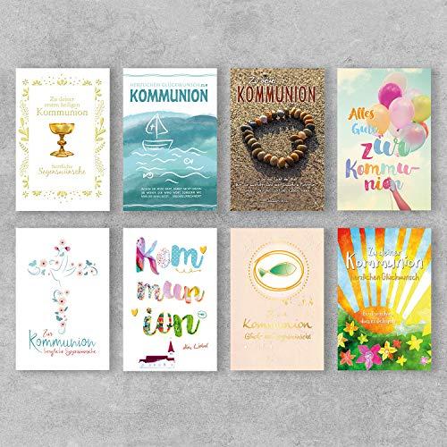 PremiumLine Glückwunschkarten zur Kommunion Set 8 Stück inkl. Umschlag Kommunionskarten 11,5 x 17,5 cm Grußkarte