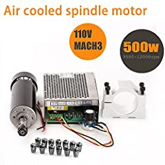 【CNC Spindle kit 500W】- 1 x 500W Air-Cooled Spindle Motor, 1 x AC110V/220V Speed Governor with MACH3, 1 x 52mm Mount bracket, 13 x ER11 collect, 4 x Screws(free). 【500W CNC Spindle motor】- Operating voltage: 100VDC, Power: 500W, Input: AC110V, Speed:...