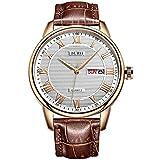 BUREI Men Watch Classic Dress Wrist Watches Analog Quartz Date Display with Black Dial Brown Genuine...