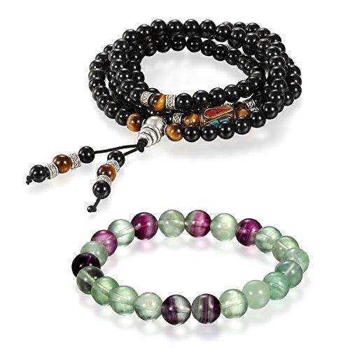 Aroncent Boeddha-armband, 2 stuks, voor dames en heren, 6 mm breed en 8 mm breed, energietherapie, energiesteen, bolletjes, gebed mala, energiearmband, zwart, lichtgroen