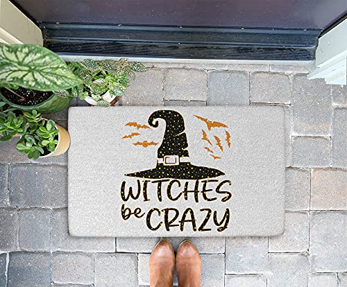 Halloween Doormat - Witches Be Crazy 24x16 Inch Outdoor Front Door Mat Kitchen Mat for Floor Welcome Home