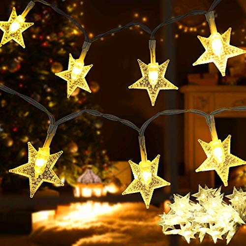 Samyoung Star String Lights,50 LED Twinkle Star,Battery Operated for Indoor & Outdoor, Party, Wedding and Christmas New Year, Garden Decorations