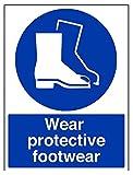 vsafety 41084bc-r'llevar calzado de protección obligatorio EPI Sign, plástico rígido, vertical, 300mm x 400mm, color azul