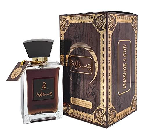 Khashab Oud - Eau de perfume unisex de larga duración con un toque oriental de acentos de violeta, para abrir especias y sándalo.