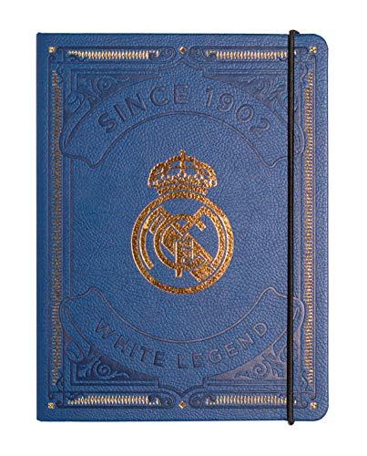 Cuaderno Real Madrid - Cuaderno punteado - Cuaderno tapa durada forrado en PU │ Cuaderno de notas, cuaderno recetas, cuaderno viaje, bullet journal... - Libreta A5 / Bloc A5