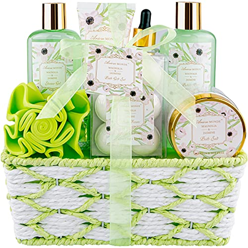 Bath Spa Basket Gift Set for Women, Magnolia & Jasmine Scent, Bath and Shower Gift Kits, Contains...