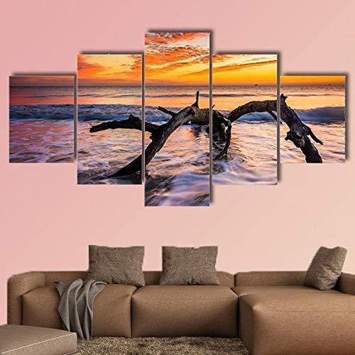BDFDF Cuadro En Lienzo Impresión 5 Piezas Artística Lienzo Decoracion De Pared del Hogar Océano Atlántico Al Amanecer Carteles Pintura 5 Cuadros Arte Creativos 150X80Cm