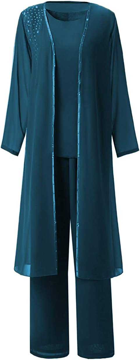 Zeattall Women's Vintage 3 Pieces Mother of The Bride Pant Suits with Long Jacket Plus Size Chiffon Beads Evening Dress