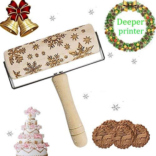 Sunshine smile houten deegroller, kerstmis eland patroon reliëf pasthout + 8 stuks uitsteekvormen uitstekers met kogellagers, stabiel en duurzaam (afmetingen: Ø 5 x 43 cm)
