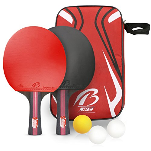 Tencoz Raquetas de Tenis de Mesa, 2 Raquetas de Ping Pong Profesional, 3 Pelotas de Tenis de Mesa, Set de Ping Pong para Juego de Interior al Aire Libre
