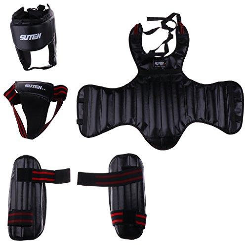 CUTICATE 1 Set Boxing Head Guard Headgear + Chest, Groin Protector + Shin Pad - Perfect for Muay Thai, Kickboxing, MMA, Taekwondo and More Black