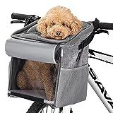 Navaris Bolsa de Perro para Bicicleta - Transportín Multiuso para Mascotas Gatos Perros - Cesta con Asas para Bici Transporte Viaje - Mochila Gris