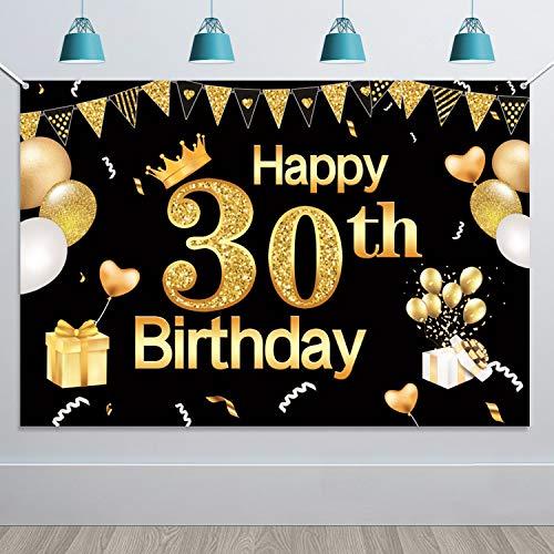 Extra Große 30. Geburtstag Banner für Frauen Mann 30 Jahre Geburtstag Dekorationen Schwarz Gold, 30. Geburtstag Stoff Zeichen Plakat Photo Booth Hintergrund für 30. Geburtstagsdeko, 5,9 * 3,9 Füße