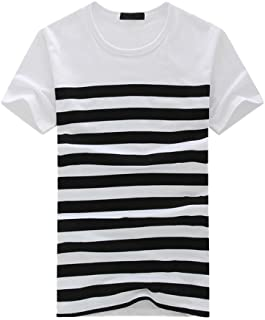 iHPH7 T-Shirt Men Cotton Short Sleeve Fashion Casual Stripe Printed Pullover Top Blouse Tee