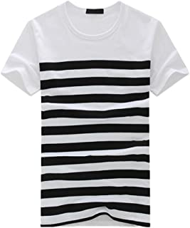 Men's Stripe T Shirts Fashion Casual Printed Short Sleeve Pullover Tops Tee