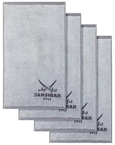 Sansibar Gästetuch Doubleface Handtuch Seiftuch Zweifarbig 100% Baumwolle 50x30 cm Silber/Anthrazit 4er Set