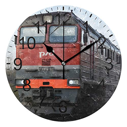 SENNSEE Wanduhr, Retro-Zug, Eisenbahn, Wanduhr, dekorativ, Wohnzimmer, Schlafzimmer, Küche, batteriebetrieben, rund