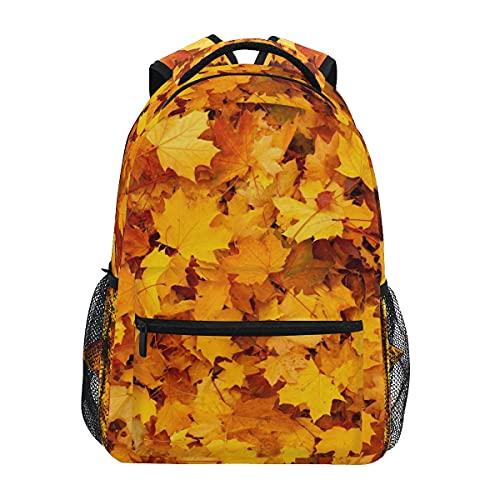 Mochila de hojas doradas para adultos y adolescentes de color otoñal, mochila de hombro para viajes de negocios, trabajo o computadora