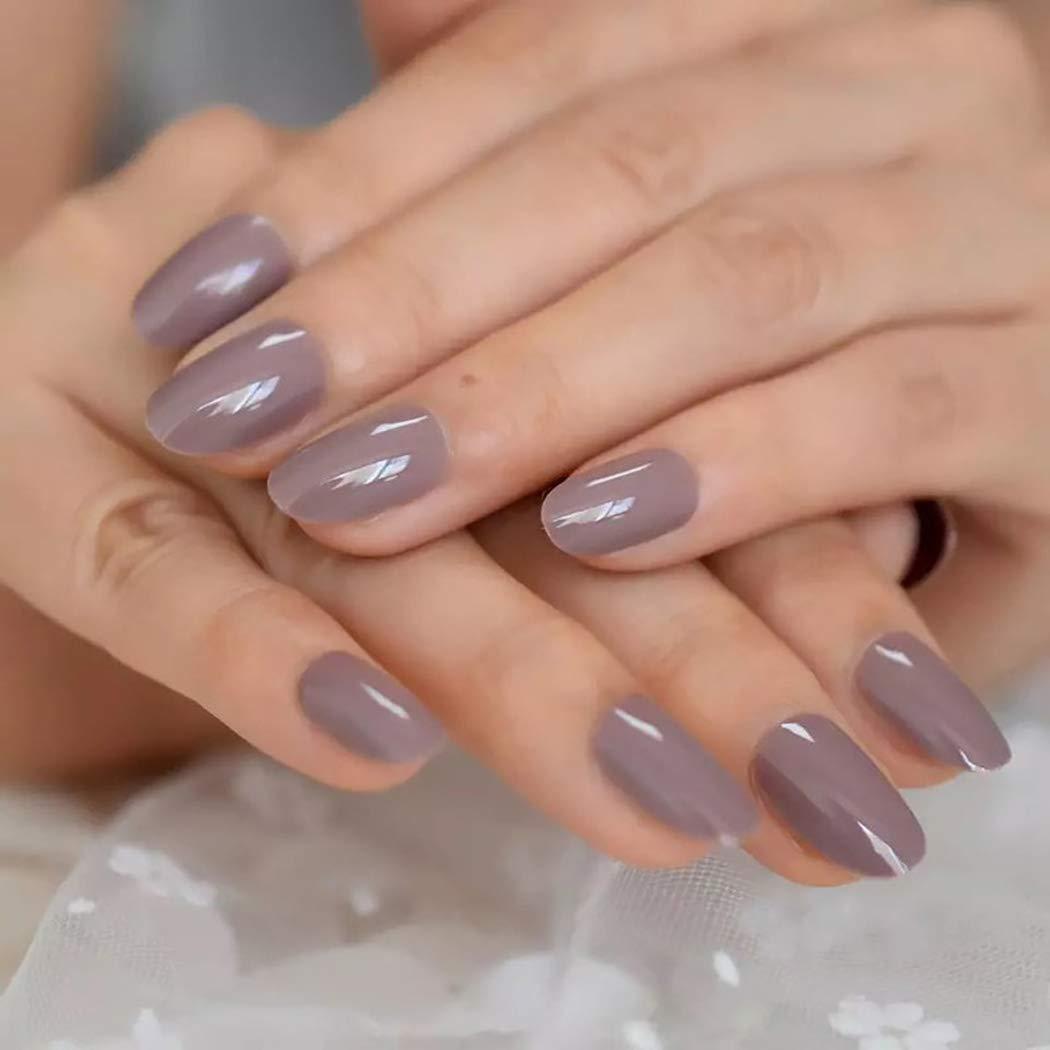 Ibliss unisex Glossy Press on Nails Purple F Full Elegant Cover Short Ballerina