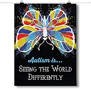 Inspired Posters - Autism is Seeing The World Differently Decorative Wall Art Poster - Modern Home Decor - Motivational Posters - UV Print 18 x 24 Poster