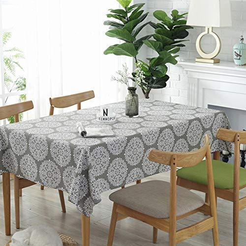 GUOIAN Mantel Gris Retro Floral Mantel AlgodóN Lino Cuadrado Mantel Lavable Mantel Antiincrustante Cubierta Toalla,Gris,140 * 220cm