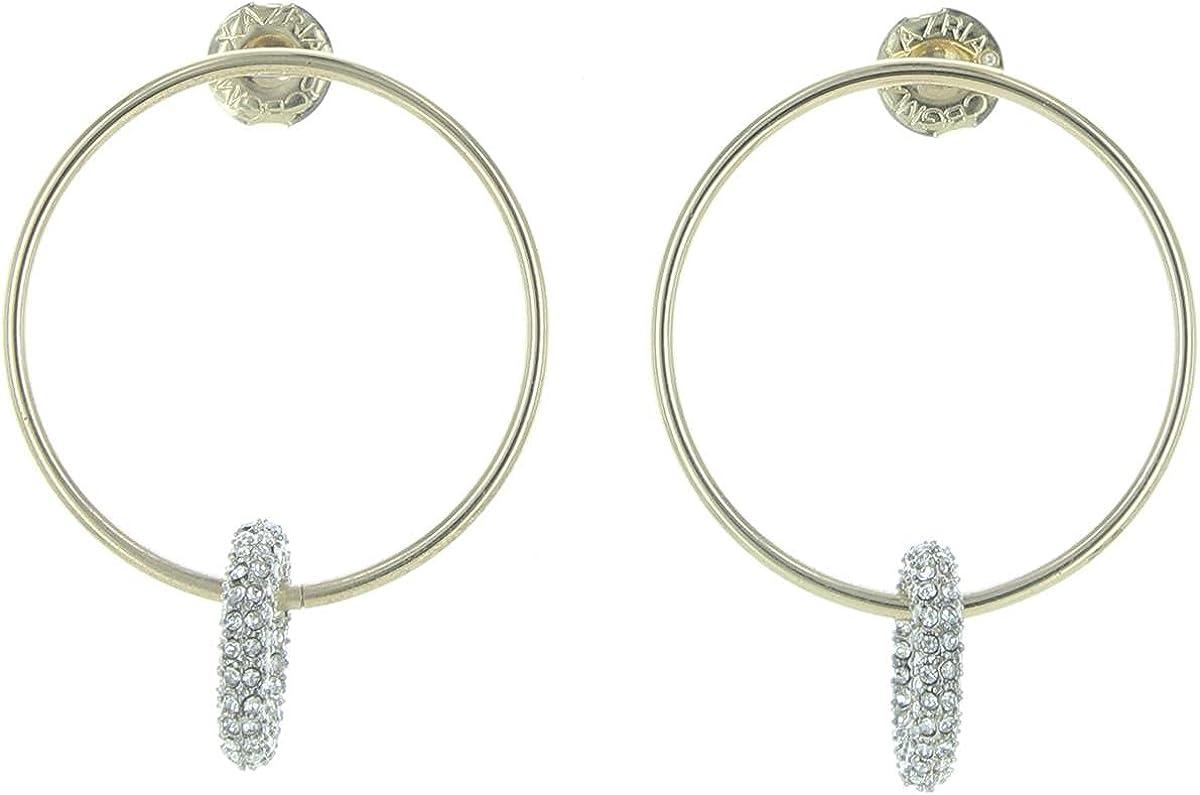 BCBGMAXAZRIA Womens Sparkle Dangle Hoop Earring O/S