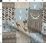 Hirsch, Quiltoptik, Wald, Blau, Taupe Stoffe - Individuell