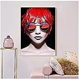 Póster moderno para niña, gafas de sol, pintura en lienzo, rojo y negro, imagen artística de pared con luz de humo para sala de estar, decoración nórdica para el hogar