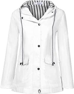 BOZEVON Women's Lightweight Hooded Raincoat Outdoor