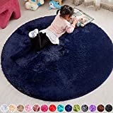 PAGISOFE Extra Soft Round Navy Rug Circle Rugs for Kids Bedroom Fluffy Carpets and Shaggy Rugs Small Children Rug Furry Teepee Mat Comfy Reading Rug Circular Rug 4x4 Area Rugs for Girls Boys Baby Room
