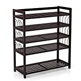 Homfa Bamboo Shoe Shelf Storage Organizer 5-Tier with 12 Hanging Bar Entryway Shoe Rack, Home Shelf Storage Cabinet for Shoes, Books and Flowerpots Dark Brown