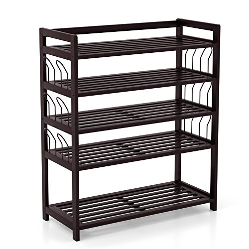 Homfa Bamboo Shoe Shelf Storage Organizer 5-Tier with 12...