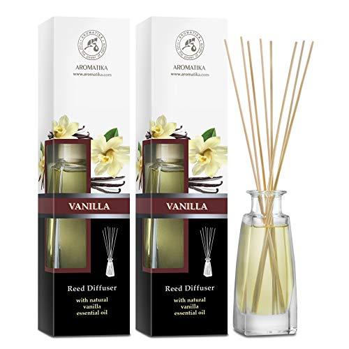 Set de Varillas Perfumadas con Difusor Vainilla 2x100ml - Difusores de Aromas Vainilla - Aromaterapia - Difusor Perfumado - Ambientador de Varillas de Rattan - Difusor Aromático - Aroma Vainilla