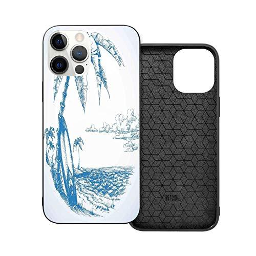 Compatible con iPhone 12 Pro Max 6.7 pulgadas, Coconut Trees Sea Surf Soft antideslizante a prueba de golpes funda protectora para iPhone